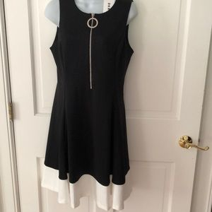 DKNY Half-Zip Fit-And-Flare Dress B & W Sz. 10